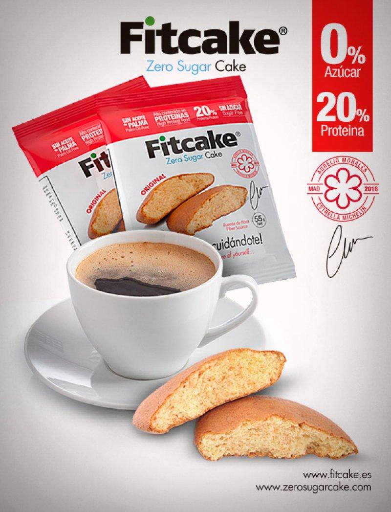 Fitcake® bizcocho sin azúcar, con alto contenido en proteína y sin aceite de palma.