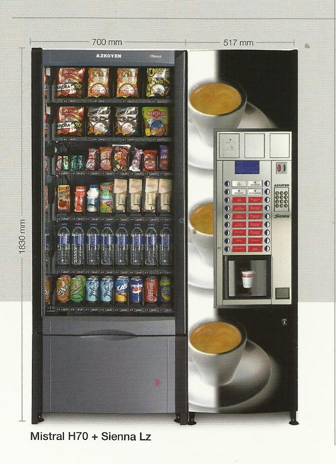 Maquinas de Snacks, refrescos, agua, cafe y productos consumibles para el Mundo del Vendin
