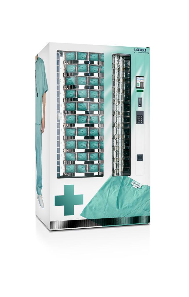 Maquina expendedora de pijama quirurgico y material hospitalario de un solo uso