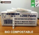 Paletinas perforado Bio Compostable 90 mm certificado OK Compost para maquinas expendedor