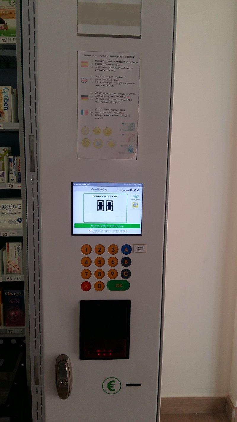 Venta de máquina expendedora para productos de parafarmacia